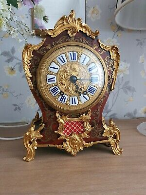 Stunning large 33cm high antique French Boulle Clock medaille Dargent rococo.