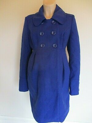 New Look Maternity Gorgeous Bright Blue Smart Mac Jacket Coat Size 14