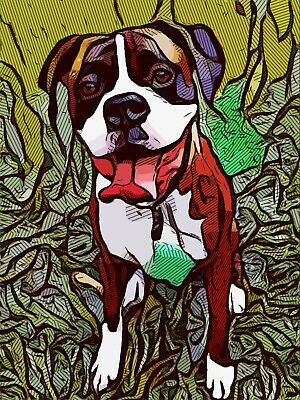 Dean Russo Art Print colorful dog direct from artist SIGNED animal boxer artwork