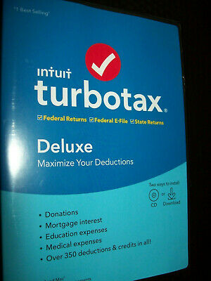 Intuit Turbotax Deluxe 2019 Federal and State