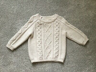 H&M Baby Unisex Beige Cream Knitted Aran Cable Knit Jumper Size 6-9 Months