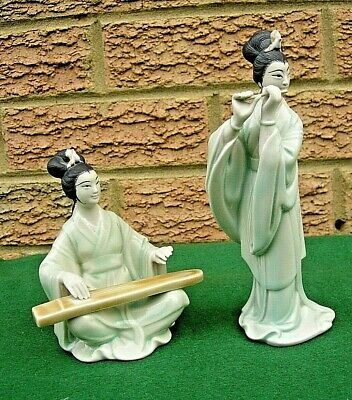 Pair of Vintage Chinese MudMan Women Musicians with Zither & Flute Figurine
