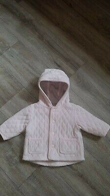 Baby Girls Next velour quilted pink coat/jacket up to 3 months