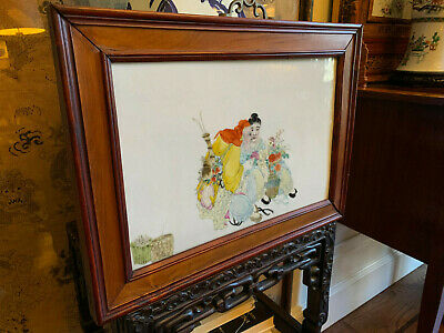 Excellent Chinese Qing Dynasty Famille Rose Porcelain Plaque, Rosewood Frame #2.