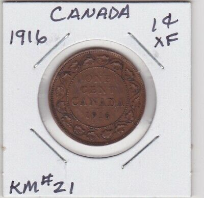Canada 1916 Large Cent Extra Fine Km#21