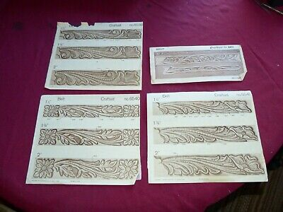 Leather Patterns - Lot of 4 CRAFTAID Leather Carving Templates - Floral Belts