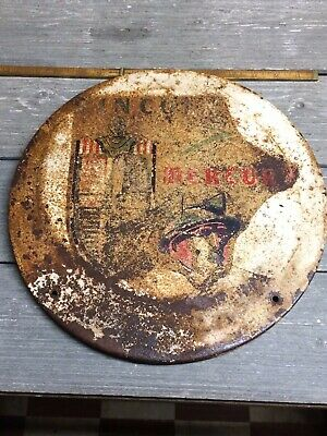 "Rare Lincoln Mercury Painted Gas Pump Sign 12-1/2"" Diameter"
