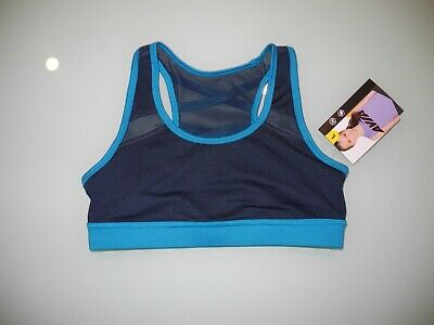 Nwt Avia Girl's Blue Cove And Navy Blue Sports Bra Youth Size Large 10 -1 2 New