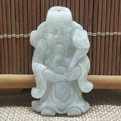 Chinese Hand-carved aristocratic wearing Jadeite jade pendant God of fortune