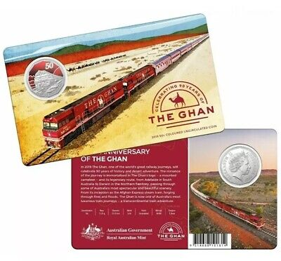 2019 RAM 50c Coloured UNC Coin - 90th Anniversary of The Ghan