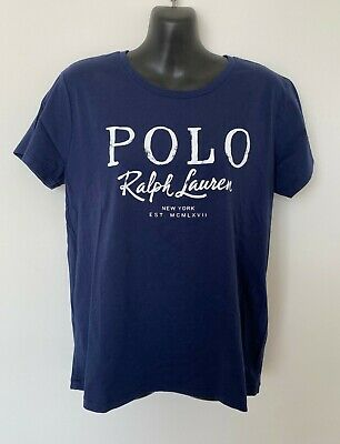 Polo Ralph Lauren Womens Designer T Shirt Blue 100% Cotton Size M or L