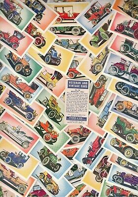 Rare *Full Set 50 Veteran And Vintage Cars By Ching 60Yrs  Old Cigarette Cards