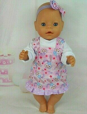 """Dolls clothes for 17"""" Baby Born/CPK Doll~BUNNY RABBIT/STRAWBERRY PINAFORE~TOP"""