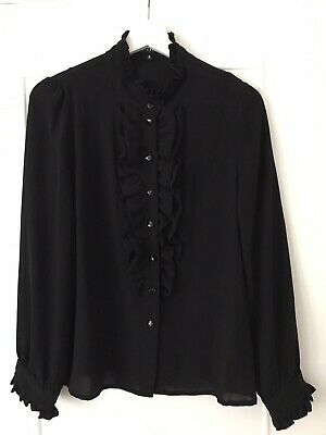 Black Claudie Pierlot Shirt Blouse with Ruffle Front And Heart Buttons Size 3
