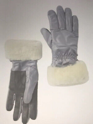 NWT-UGG Genuine Dyed Shearling Trim-Leather Palm-Tech Gloves-Silver Size S/M