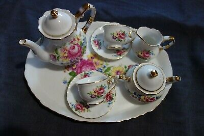 regal porcelain miniature tea set with tray in rose pattern