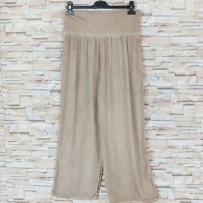 MADE IN ITALY Palazzo Strand Hose oil dyed Ethno Hippy Boheme taupe 36-44