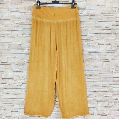 MADE IN ITALY Palazzo Strand Hose oil dyed Ethno Hippy Boheme curry-gelb 36-44
