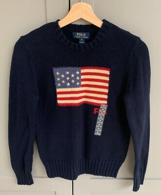 POLO RALPH LAUREN BOYS USA FLAG Sweater Jumper Age 8-9 NEW