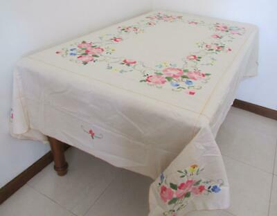 Unused Prettiest Vintage Large Linen Banquet TABLECLOTH Pinks