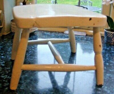 Milking stool old gloss paint of many coats, Lovely rustic elm hand made solid