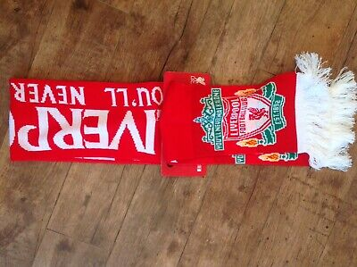 Liverpool Football Club Scarf. Red & White YNWA Soccer.