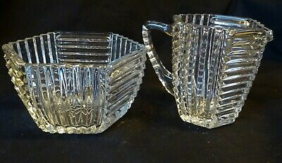 Art Deco Heavy Glass Milk Jug and Sugar Bowl