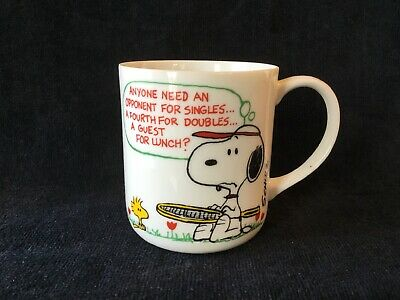 Vintage 1965 Snoopy Peanuts Mug Coffee Cup United Features Syndicate Tennis