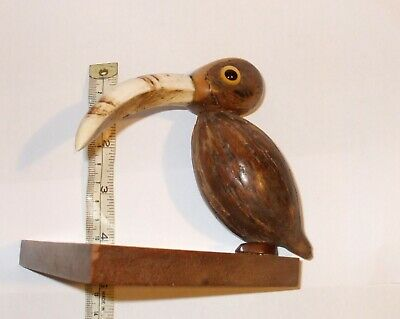 "Art Deco Yz Nut Bird  Pin Holder Triangle Base 5"" Tall Henry Howell & Co Ltd"