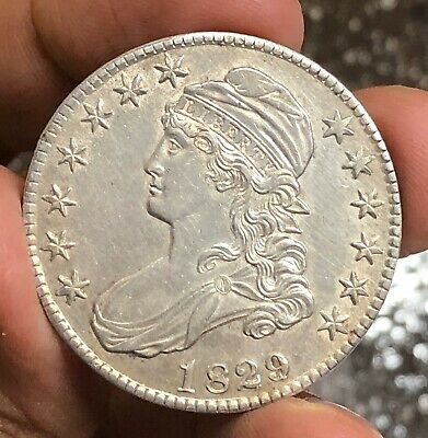 1829/7 Capped Bust Half Dollar BU Cleaned RARE 1829/7 O-102 RARE