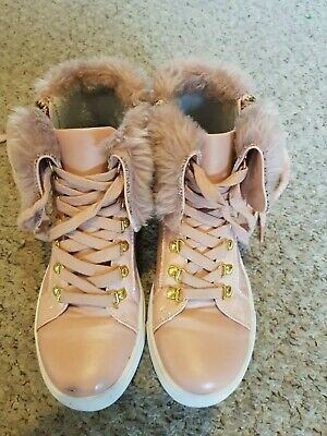 Girls pink fur trim lace up with side zips too boots Infant Size 12