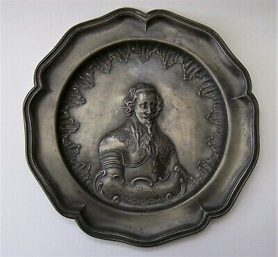 Antique 19Th Century German Heavyweight Pewter Plaque Of Graf Von Pappenheim
