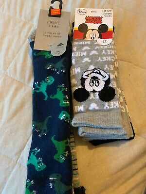 Next Boys Socks Size 6-8.5 Wellie Socks X2 Mickey Mouse 3 Pack Nwt