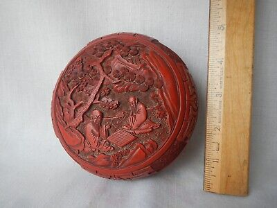 Antique Carved Chinese Cinnabar Lacquer Box Deep Vivid Red Figural Men Checkers