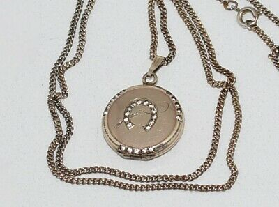PRETTY! Antique GF Paste Stones **EQUESTRIAN HORSESHOE & CROP LOCKET** Necklace