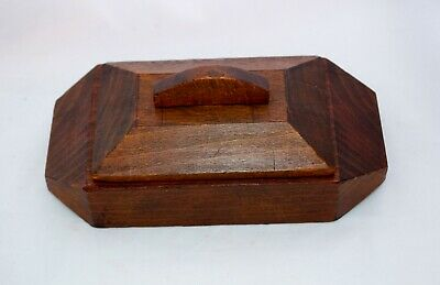 Vintage Arts and Crafts French Hand Carved Wooden Box Lidded Treen Trinket Box