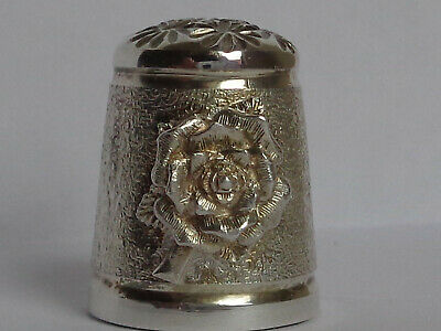 Lovely Sterling Silver Thimble with Rose Decoration, Hallmarked Birmingham 1997