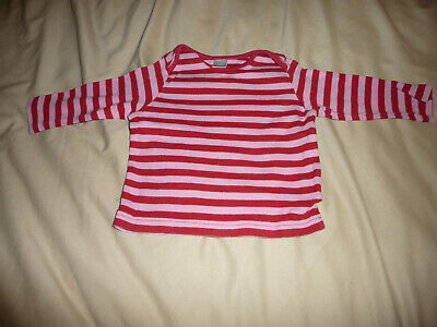 NEXT baby girls red/pink stripey long sleeve top - 3-6 months - EXC