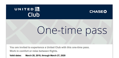 United Club Passes - Set of 2 - Expires March 2020 e-mail delivery or snail mail
