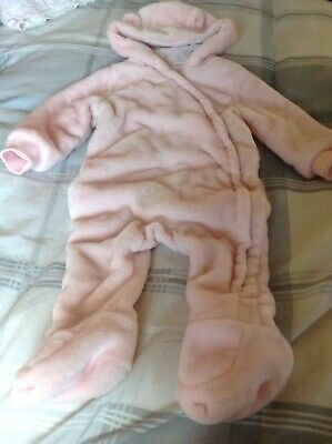 Baby girls Super soft Fleece all in one Pramsuit 6 - 9 Months - EUC