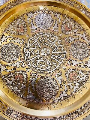 Antique Persian Islamic Damascus Mamluk Middle Eastern Silver inlaid Brass Tray