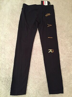 Nike Air Girls Leggings Black With Gold Logo Large Age 11-12
