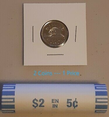 CANADA 2020 New 2x5 cents ORIGINAL BEAVER Circulation coin (UNC From mint roll)