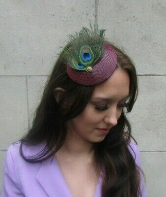 Burgundy Maroon Red Green Peacock Feather Hat Fascinator Hair Clip Races 0010