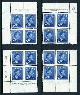 """CANADA Scott 288 - NH - Matched Set Plate 3 - 5¢ with """"Postes-Postage"""" (.008)"""