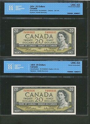 Consecutive Serial Number Pair of 1954 $20 Bank of Canada UNC-63 CCCS banknotes.