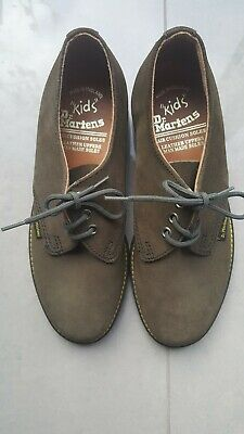 Vintage Unworn Kids Dr Martens Leather Olive Green Laceup Shoes. Size 2