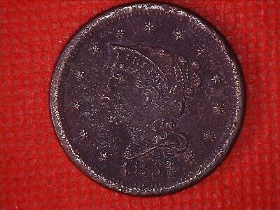 1851 Braided Hair Large Cent Old U.S. Coin 1(C) #131