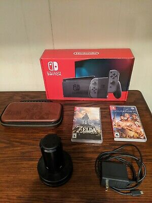 Nintendo Switch console Cib with Breath of the wild game lot bundle