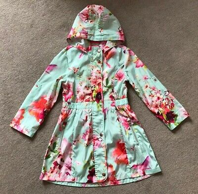 Ted Baker Girls Hummingbird Lily Floral Print Raincoat - Age 8 Years (7-8) - VGC